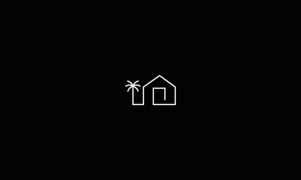 A line art icon logo of a house with a palm tree