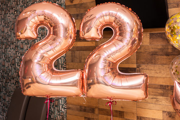 happy 22nd birthday gold foil balloon