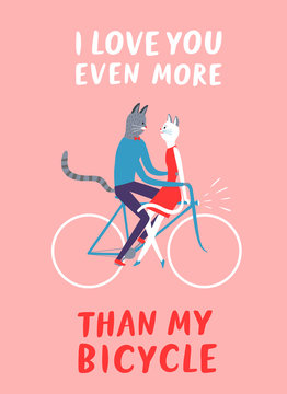 Love you more than my bicycle postcard with cats