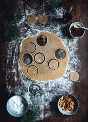 Dough on wooden surface