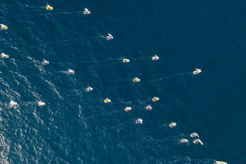 Aerial view of sailing boat competition near Mali Losinj island, Croatia.