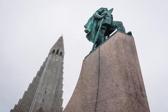 Reykjavik, Iceland - June 24, 2018: Leif Erikson monument in front of Hallgrimskirkja Lutheran Church in Reykjavik