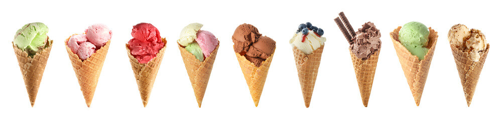 Set of tasty ice-cream on white background