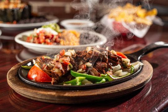 sizzling beef fajita platter