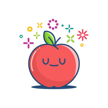 kawaii smiling apple emoticon cartoon illustration