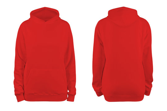 woman's red blank hoodie template,from two sides, natural shape on invisible mannequin, for your design mockup for print, isolated on white background