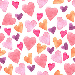 Seamless pattern with hand-drawn watercolor hearts on a white background. Valentine's day texture for design of wrapping paper, postcards, fabric and other souvenir products
