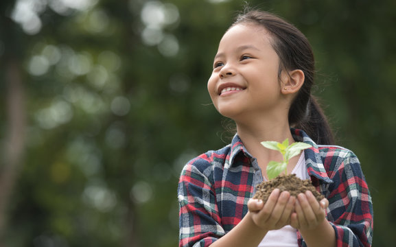 Kid holding young plant in hands against spring green background. environment earth day In the hands of trees growing seedlings. concept ecology