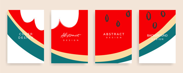 Fotobehang - summer cover design  vector set. Sale banner background template with copy space for text and images design by abstract colored shapes,  line arts and natural shape.