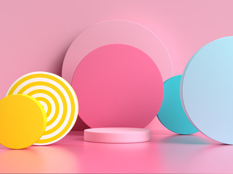 pink blue yellow geometric shape pattern colorful 3d render scene