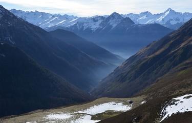 Panorama depuis Hautacam vers Argelès Gazost, Pyrénées, France