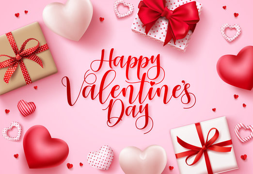 Happy valentines day vector background. Happy valentines day greeting text with hearts and gifts elements in pink space background template. Vector illustration