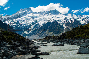 Rope bridge with the mountains in the background (Mount Cook National Park, Aoraki, New Zealand)