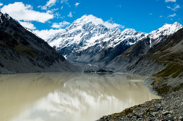 View to Mount Cook (Aoraki) from the glacier in New Zealand (Mount Cook, highest peak)