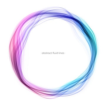 Abstract circle lines round ring frame colorful light flowing isolated on white background with empty space for text.