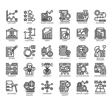 Set of research and analysis thin line and pixel perfect icons for any web and app project.