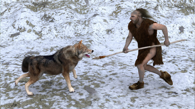 neanderthal hunting a wolf
