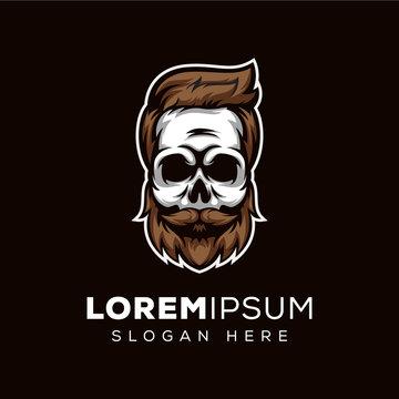 skull beard, skull barber shop logo template