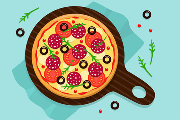 Vector drawing of a whole round pizza with tomatoes, pepperoni sausage, olives cheese and arugula on napkins Blue background.