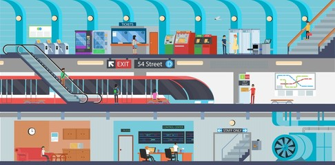 Subway banner of underground railway passenger transport. Metro station interior with subway train platform, ticket office and escalator, stairs, map and turnstile, vending machine and control center