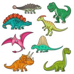Cartoon dinosaur characters, funny dinos. Vector triceratops, tyrannosaurus, stegosaurus and brontosaurus, pterodactyl, parasaurolophus and spinosaurus, diplodocus and ankylosaurus