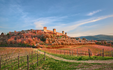 Monteriggioni, Siena, Tuscany, Italy: landscape at sunset of the ancient village along the Via...
