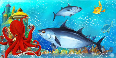 Poster Submarine cartoon scene with fishes in the beautiful underwater kingdom coral reef - illustration for children