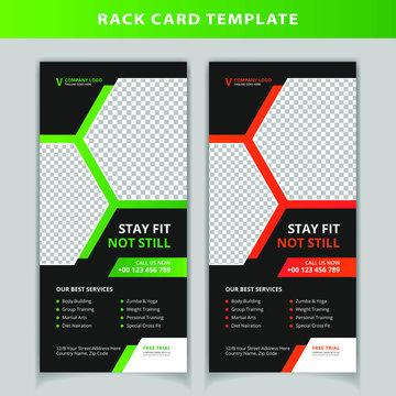 Gym & finess rack card design template