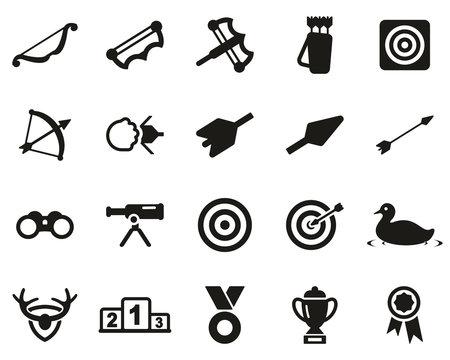 Archery Sport Or Archery Leisure Icons Black & White Set Big