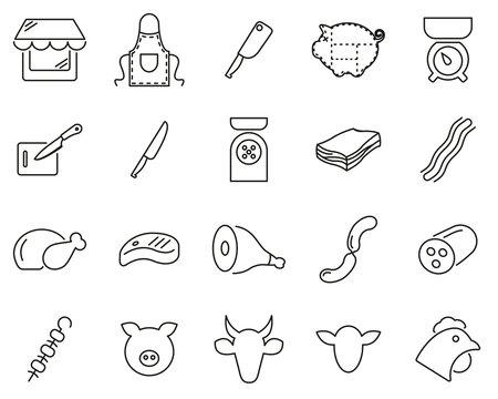 Butcher Or Butcher Shop Icons Thin Line Set Big