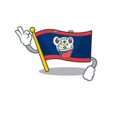A picture of flag belize making an Okay gesture