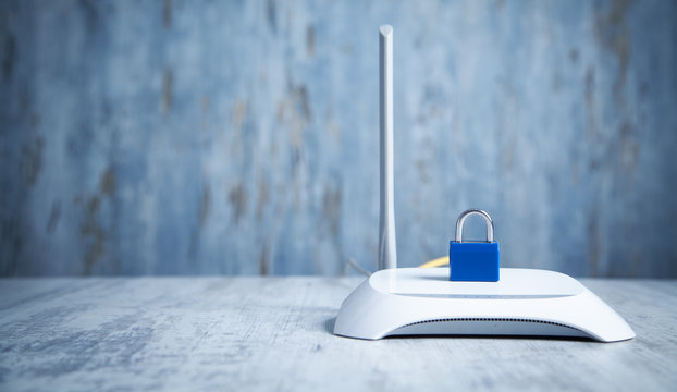 Internet router with padlock. Network and data protection