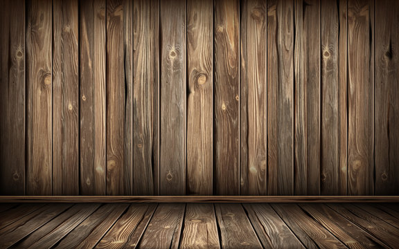 Wooden wall and floor with aged surface, realistic vector illustration. Vintage wall and old floor made of darkened wood, realistic plank texture. Empty room interior background