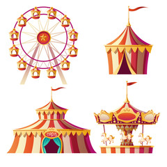 Amusement park, carnival or festive fair cartoon vector illustration. Merry-go-round, circus tent and ferris wheel, elements for children summer fun isolated on white background, announcement set