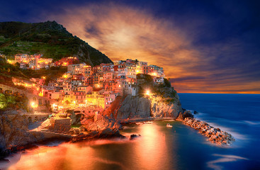 Self adhesive Wall Murals Orange Glow Famous city of Manarola in Italy - Cinque Terre, Liguria