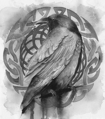 Watercolor picture of a raven with colorful viking pattern on the background