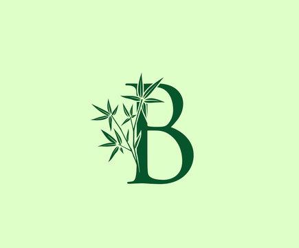 Green Bamboo B Letter logo icon design