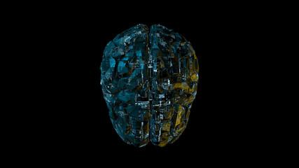 Biomechanical computer brain - glowing blue machine mind 3D render - top view