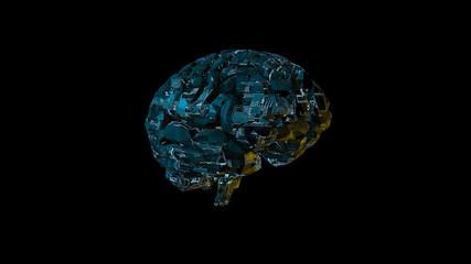 Biomechanical computer brain - glowing blue machine mind 3D render - angle view
