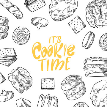Sketch ink graphic design. Sweet cookies. Lettering on poster with bakery product. Vector illustration