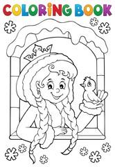 Deurstickers Voor kinderen Coloring book princess in winter window