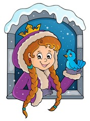 Photo sur Aluminium Enfants Princess in winter window theme image 1