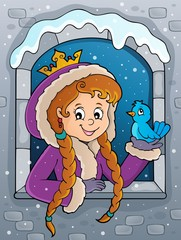 Foto auf AluDibond Für Kinder Princess in winter window theme image 2