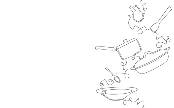 Background with Utensils and Food. Cooking Vertical Pattern. Vector illustration.