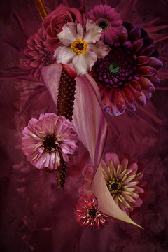 Flower arrangement, pink
