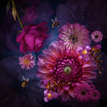 Flower arrangement, violet and pink with bumblebees