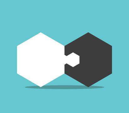 Hexagon jigsaw puzzle pieces
