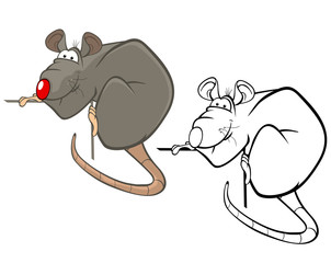 Foto auf AluDibond Babyzimmer Vector Illustration of a Cute Cartoon Character Rat for you Design and Computer Game. Coloring Book Outline Set
