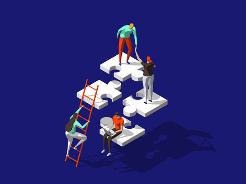 Teamwork concept with persons and puzzle elements. Team Metaphor. Template for web banner, landing page. Flat isometric vector illustration isolated on dark blue background.