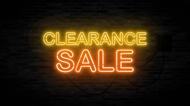 Clearance sale letter on the black brick wall for promotion sale and for clearance sale and for promote sale season.